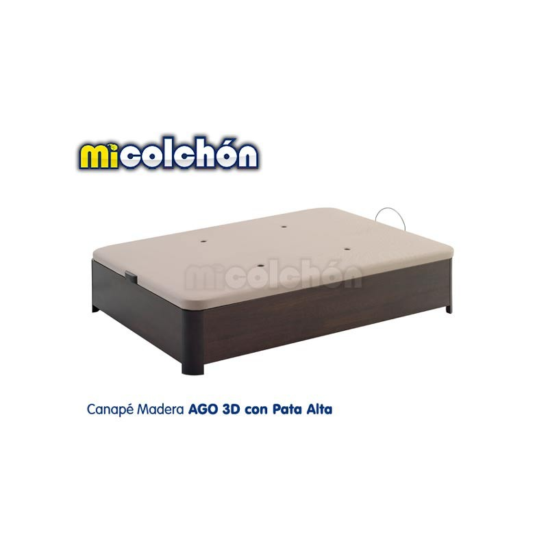 AGO Wood Storage Bed 3D Top with HIGH LEGS